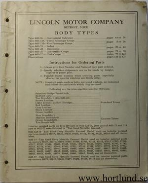 1940 Lincoln Zephyr Body Parts List
