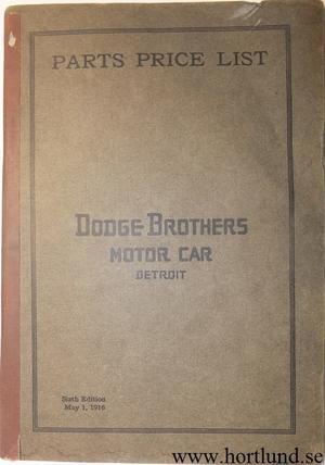 1916 Dodge Parts Price List