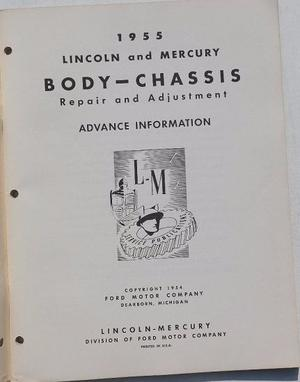 1955 Lincoln and Mercury Repair and Adjustment Manual supplement