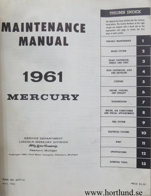 1961 Mercury Maintenance Manual