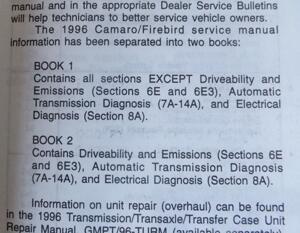 1996 Chevrolet Camaro Pontiac Firebird F Platform Preliminary Service Manual bok 2 av 2
