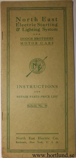 1916 Dodge Elektrisk handbok
