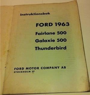 1963 Ford och Thunderbird Instruktionsbok svensk