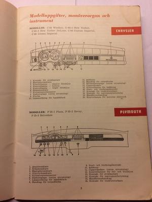 1954 Chrysler, Imperial och Plymouth Ägarens Handbok svensk