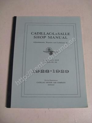 1928-29 Cadillac 341-A, 341-B lasalle 303, 328 Shop manual