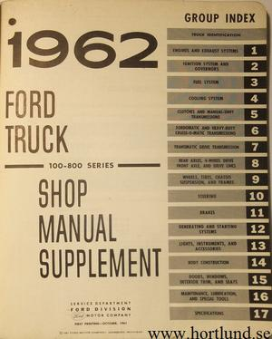 1962 Ford Truck 100-800 Series Shop Manual supplement
