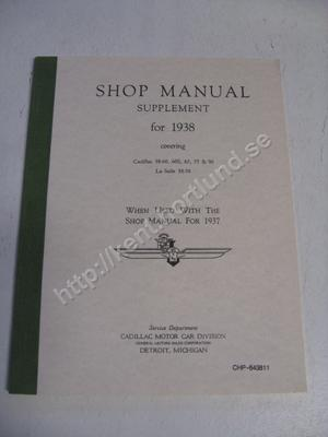 1938 Cadillac 38-60, 60s, 65, 75 & 90 LaSalle 38-50 Shop manual supplement