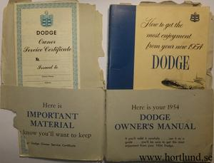 1954 Dodge Owners Manual