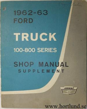 1963 Ford Truck 100-800 Series Shop Manual supplement