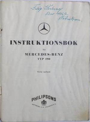 1959 Mercedes-Benz 190 Instruktionsbok