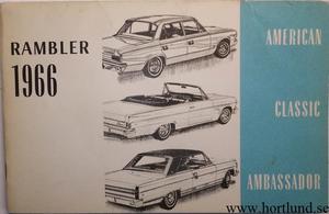 1966 Rambler American, Classic, Ambassador Instruktionsbok