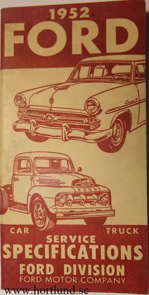 1952 Ford Service Specifications Car Truck