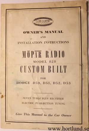 1954 Dodge Radio Model 828 Owner's Manual