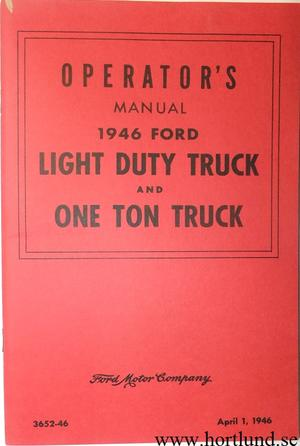 1946 Ford Light Duty Truck and One Ton Truck Operators Manual