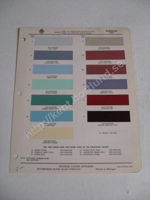 1957 Cadillac Colors Ditzler