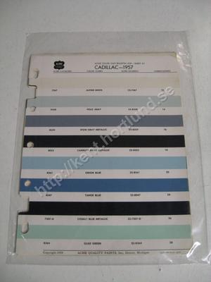 1957 Cadillac Acme color chip bulletin