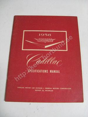 1958  Cadillac Specifications Manual