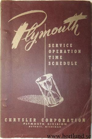 1954 Plymouth Service Operation Time Schedule 1946-1954