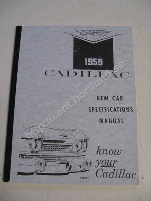 1959 Cadillac New Car Specifications Manual