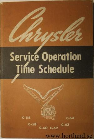 1954 Chrysler Service Operation Time Schedule