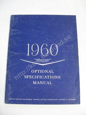 1960 Cadillac Option Specification Manual