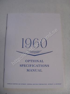 1960 Cadillac Optional Specifications Manual