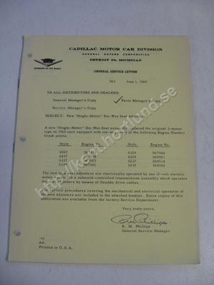 1960 Cadillac General Service Letter