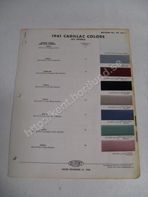 1961 Cadillac Exteriors colors Du Pont