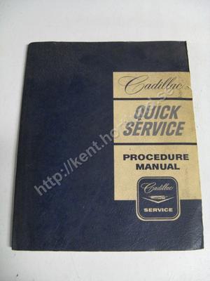 1962 Cadillac quick service procedure manual