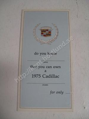 1975 Cadillac Försäljningsfolder med prisförslag och tillbehörslista
