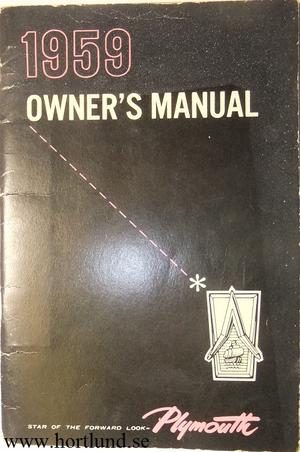 1959 Plymouth Owners Manual original