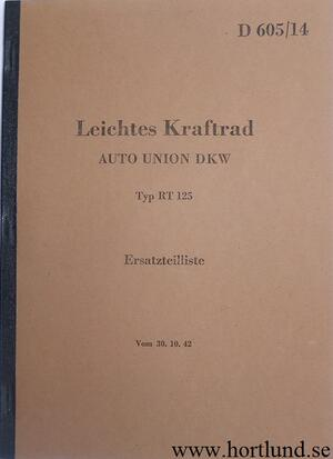 1940 - 1941 DKW RT 125 Reservdelskatalog