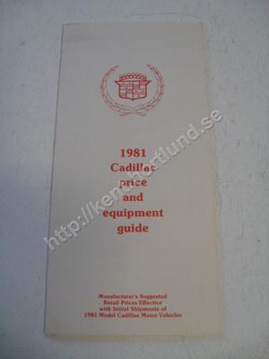 1981 Cadillac Försäljningsbroschyr