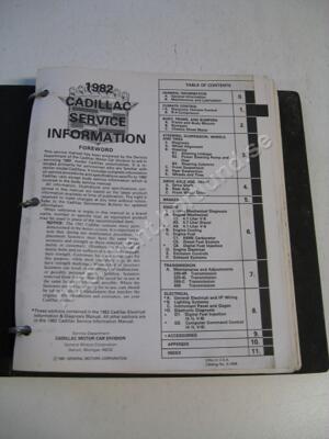 1982 Cadillac service information