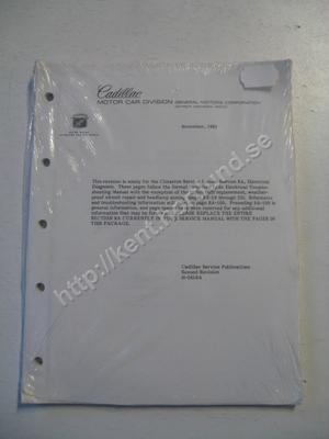 1983 Cadillac Cimarron revision of the Cimarron Service Manual