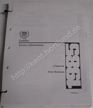 1985 Cadillac Cimarron Service Information first revision