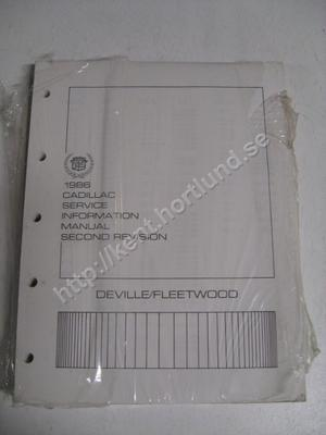 1986 Cadillac DeVille och Fleetwood service information manual second revision