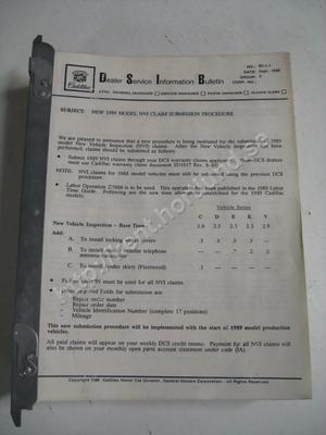 1989 Cadillac Dealer service information bulletins