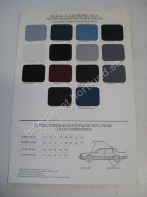 1992 Cadillac DeVille, Fleetwood, Fleetwood Sixty Special  Exterior Color Selections