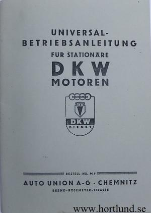 1943 DKW Stationära motorer instruktionsbok