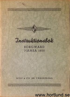 1953 Borgward Hansa 1800 Instruktionsbok svensk