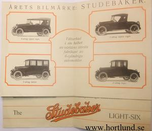 1923 Studebaker Light-Six broschyr svensk