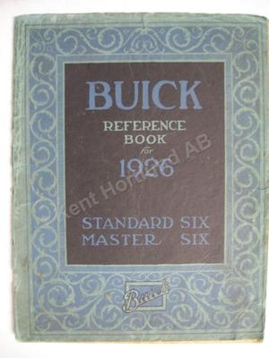1926 Buick Standard six master six Reference book