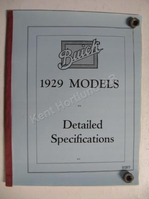 1929 Buick Detailed specifications