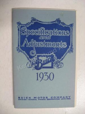 1930 Buick Specifications & adjustments