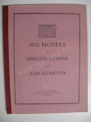 1932 Buick Specifications & adjustments