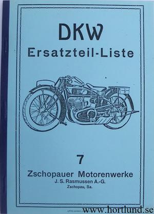 1927 DKW Z 500 Reservdelskatalog