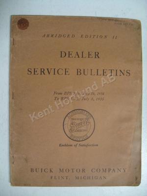 1934-1935 Buick Dealer service bulletins