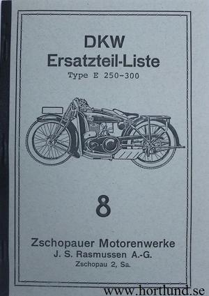 1928 DKW E 250-300 Reservdelskatalog