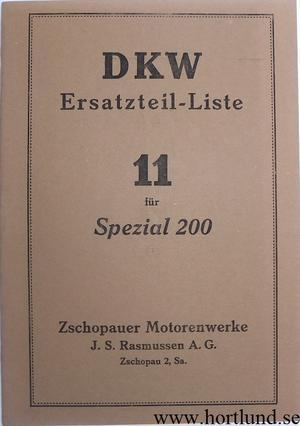 1929 DKW Spezial 200 Reservdelskatalog